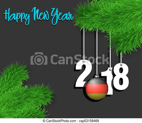 happy new year 2018 and ball with the germany flag csp53158468