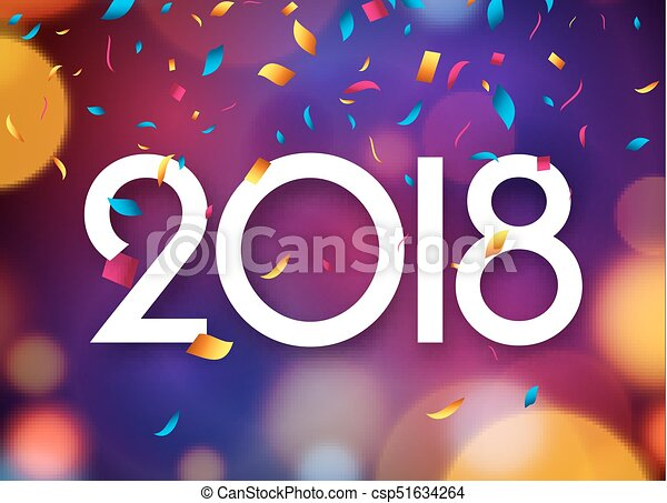 happy new year 2018 background decoration greeting card design template 2018 confetti vector illustration of date 2018 year celebrate brochure or flyer