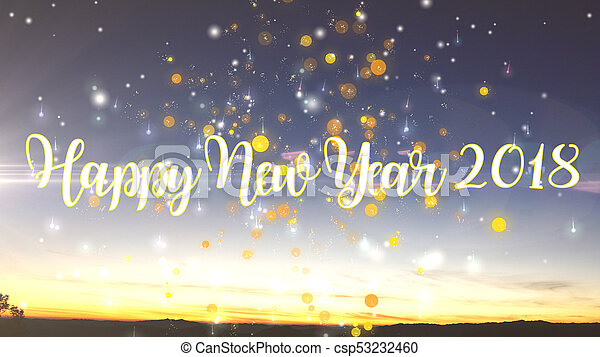happy new year 2018 background with particles explode csp53232460