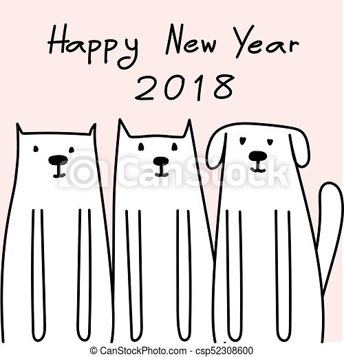 Happy New Year 2018 Card With Cute Dog Vector Illustration