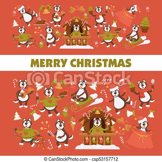vector happy new year 2018 cartoon dog celebrating holidays greeting card design template csp53157712