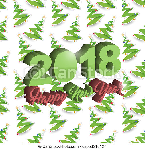 Happy new year 2018 christmas tree holiday card - csp53218127