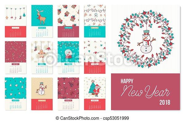 happy new year 2018 cute xmas calendar template csp53051999