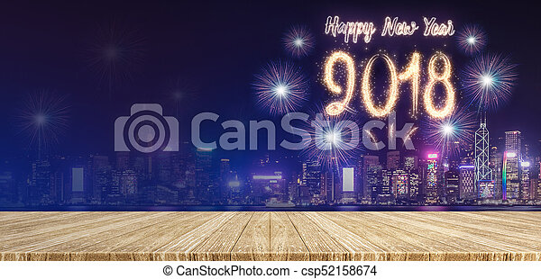 Happy New Year 2018 Fireworks Over Cityscape At Night With Empty Wood Plank  Table Top,mock Up Stock Photo
