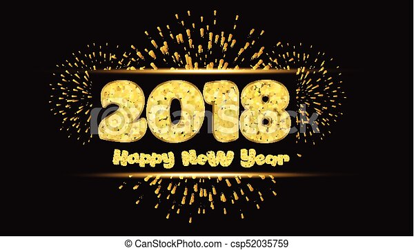 happy new year 2018 gold background with fireworks and csp52035759