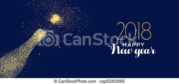 happy new year 2018 gold glitter champagne bottle csp53303095