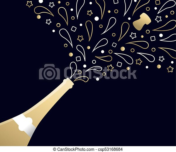 happy new year 2018 gold party drink bottle splash csp53168684