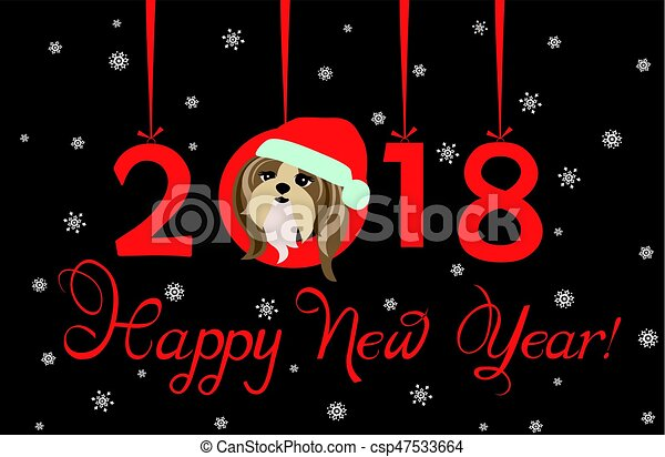 happy new year 2018 greeting banner with hanging xmas paper numbers and funny puppy csp47533664