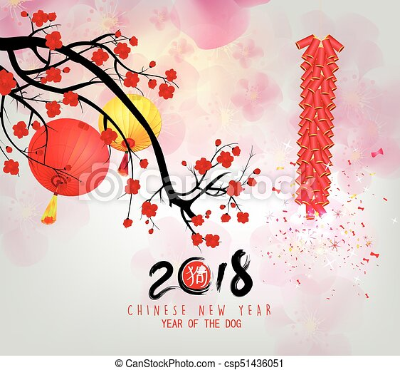 Happy new year 2018 greeting card chinese new year of ther dog and happy new year 2018 greeting card chinese new year of ther dog and blossom background m4hsunfo