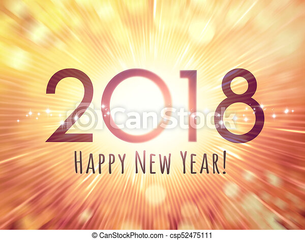 happy new year 2018 greeting card csp52475111
