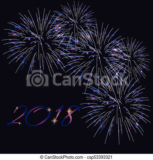 happy new year 2018 greeting card template with text and bright fireworks on dark blue background vector illustration