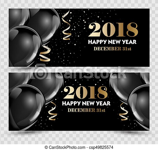 happy new year 2018 greeting card or banner template flyer or invitation design beautiful luxury holiday background with 3d black baloons vector