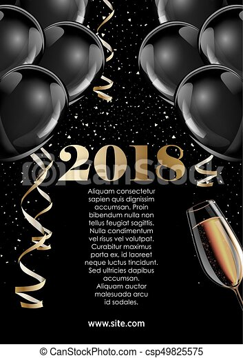 happy new year 2018 greeting card or poster template design csp49825575