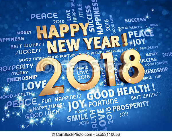 Happy new year 2018 greeting card greeting words and new year date happy new year 2018 greeting card csp53110056 m4hsunfo