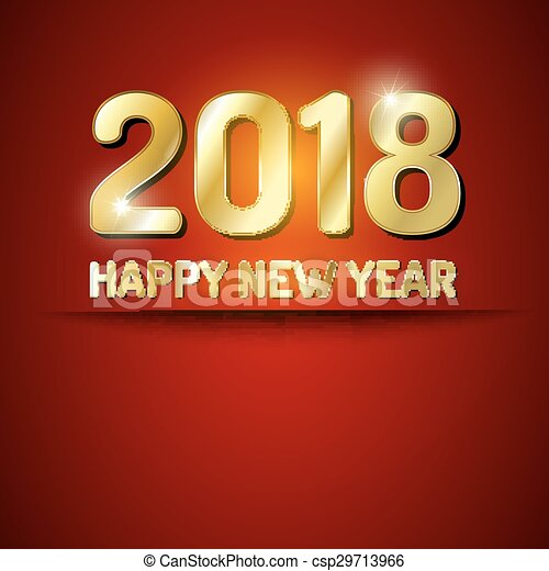 happy new year 2018 greetings card csp29713966