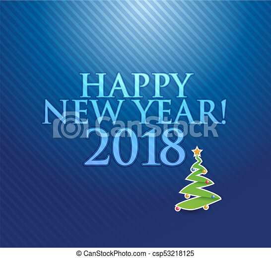 Happy new year 2018 holiday blue card illustration - csp53218125