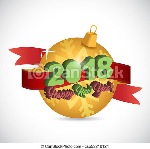 Happy new year 2018 holiday christmas ornament - csp53218124