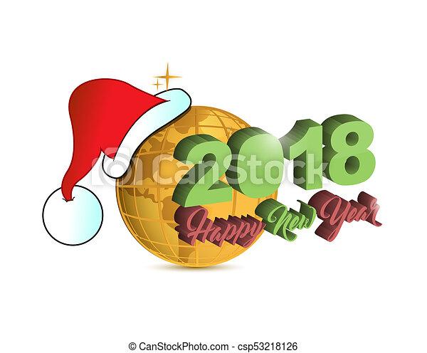 Happy new year 2018 holiday christmas golden globe - csp53218126