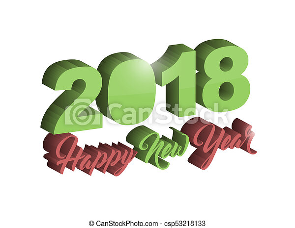 Happy new year 2018 holiday sign - csp53218133