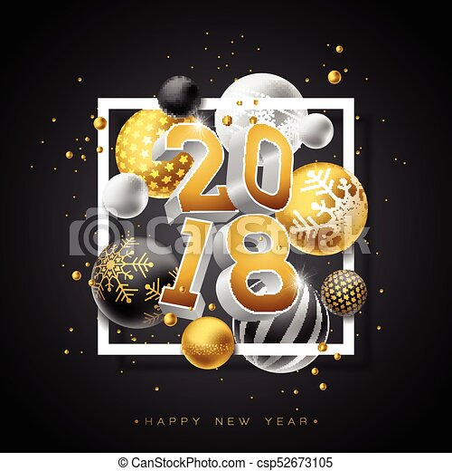 happy new year 2018 illustration with gold 3d number and ornamental ball on black background vector