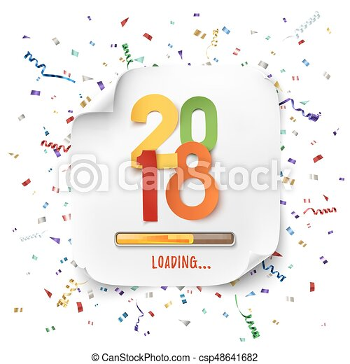 happy new year 2018 loading colorful desig csp48641682