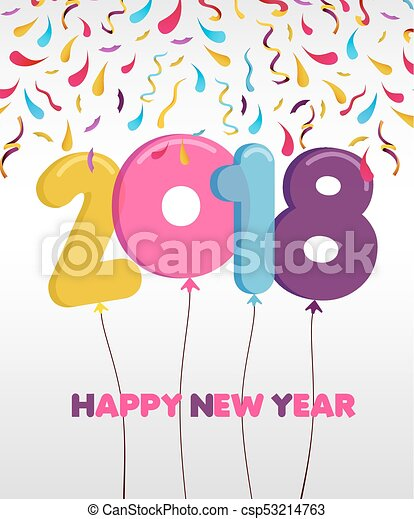 Happy New Year 2018 Party Balloon Greeting Card   Csp53214763