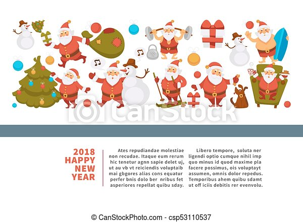 Happy new year 2018 poster with funny santa clauses. Happy new year ...
