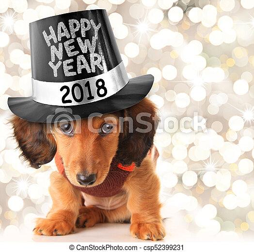 Happy New Year 2018 puppy - csp52399231