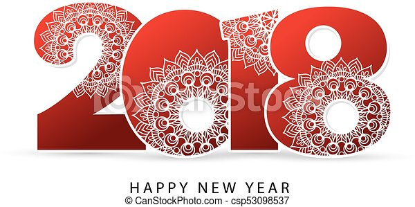 happy new year 2018 theme vector illustration red numbers with beautiful winter lace inside