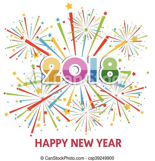 Happy New Year 2018   Csp39249900