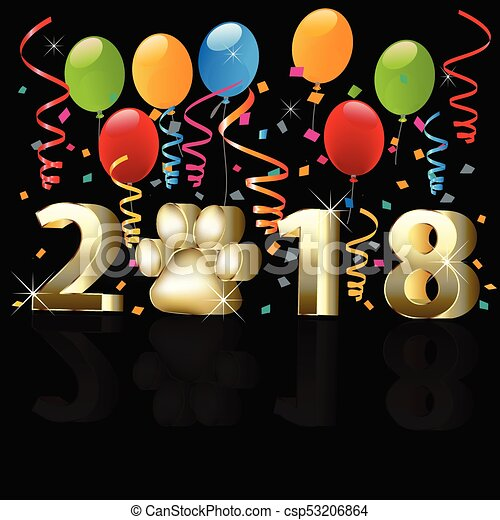 Happy new year 2018 with balloons - csp53206864