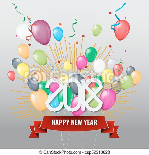 vector happy new year 2018 with colorful balloons csp52310628