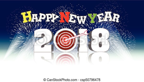happy new year 2018 with firework background csp50796478