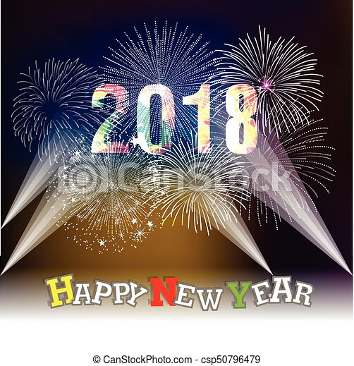 happy new year 2018 with firework background csp50796479