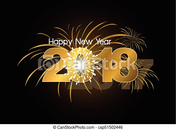 Happy New Year 2018 with fireworks design - csp51502446