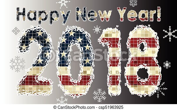 happy new year 2018 with flag of usa 2018 happy new year numerals
