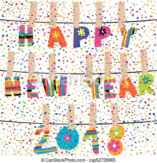 Happy new year 2018 word hanging  in clothes pegs on rope - csp52729965