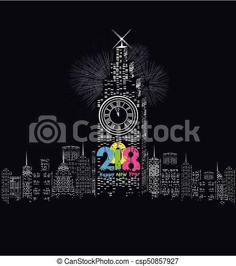 happy new year 2018 written with sparkle firework and led csp50857927