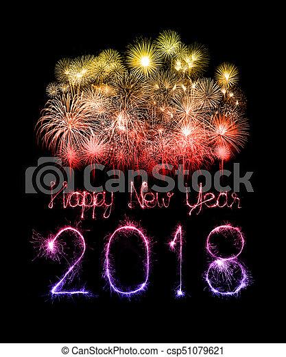Happy new year 2018 written with Sparkle firework - csp51079621