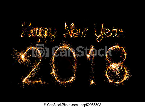 Happy new year 2018 written with Sparkle firework - csp52056893