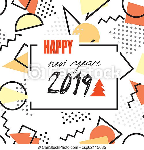 90s Christmas Background.Happy New Year 2019 Banner Abstract Winter Holiday Background Christmas Greeting Card With Handwritten Lettering In 90s Geometric Style