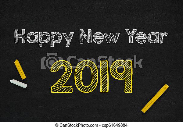 Happy New Year 2019 On Blackboard - csp61649884