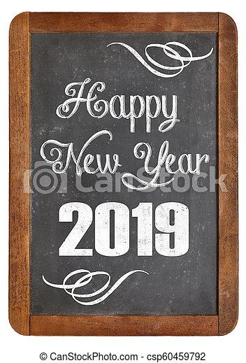 happy new year 2019 on blackboard - csp60459792