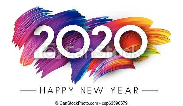 Happy New Year 2020 card with colorful brush stroke design. - csp63396579
