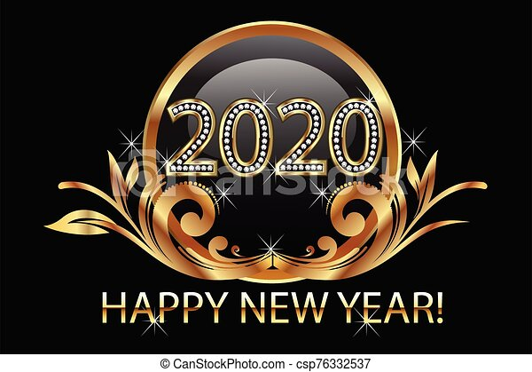 Happy new year 2020 gold floral background vector - csp76332537