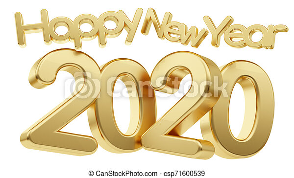 Happy new year number 2020 gold 3d number 2020