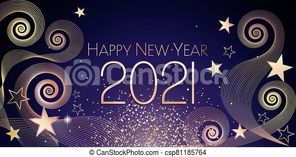 Happy new year 2021 large greeting card illustration.