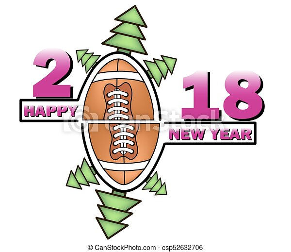 Happy New Year And Football Happy New Year 2018 And Football With