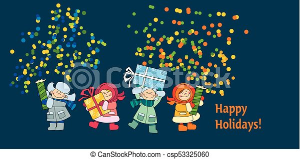 happy new year and xmas poster template with kids in winter wearing