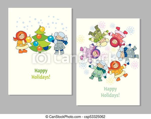 Happy new year and xmas poster template with kids in winter wearing ...